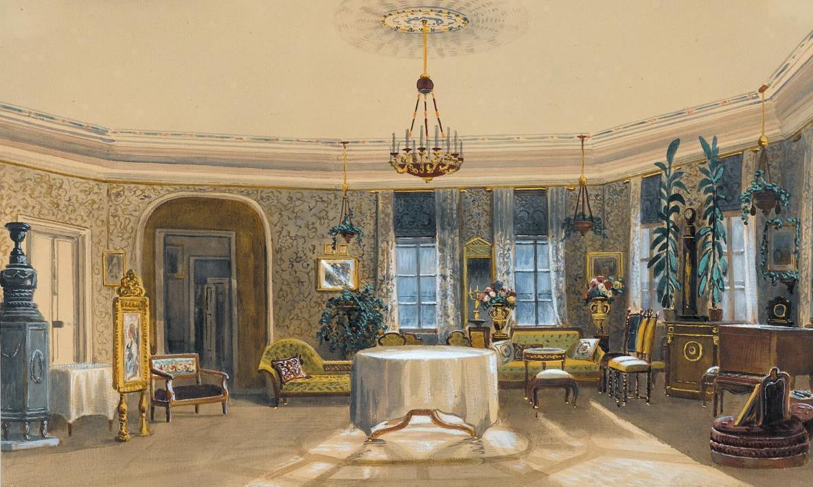 Der Saal im Turm mit seiner Ausstattung 1852; Foto: Staatsgalerie Stuttgart